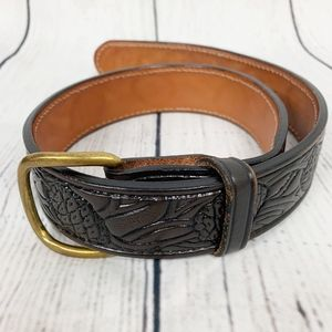 Vintage Tooled Leather Belt Retro Boho Cowboy